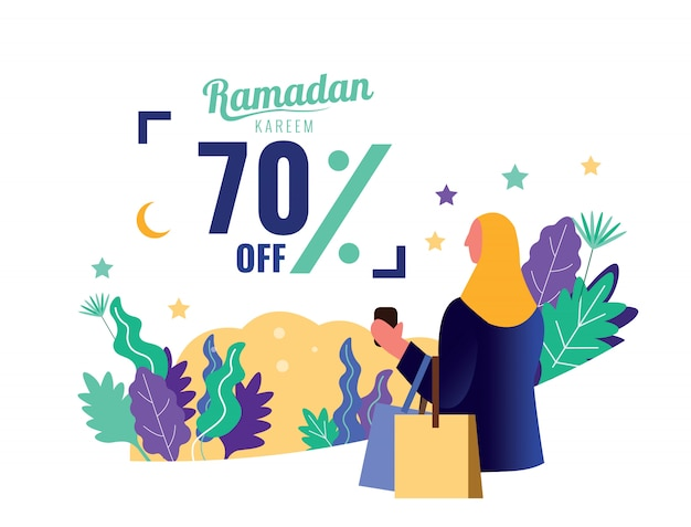 Bandeira de venda do ramadã. mulher com sacola de compras.