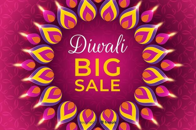 Bandeira de venda festival de design plano diwali