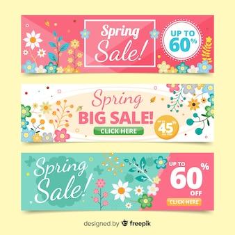 Bandeira de venda floral primavera