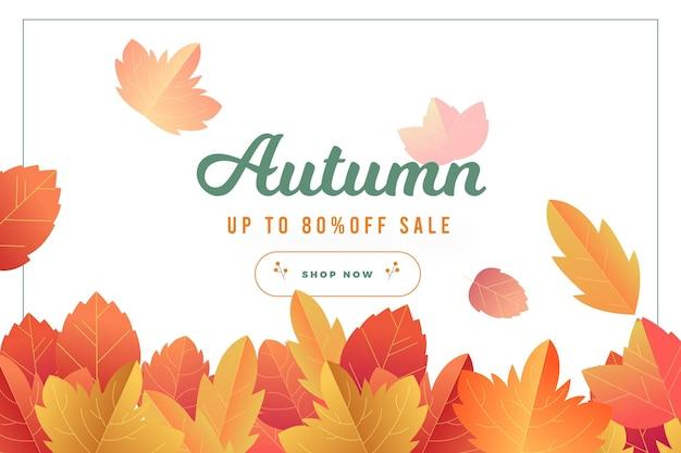 Bandeira de venda outono design plano