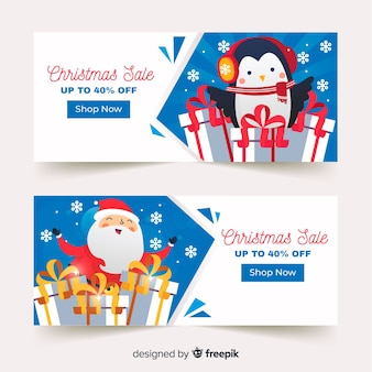 Bandeira de venda pinguim e santa natal