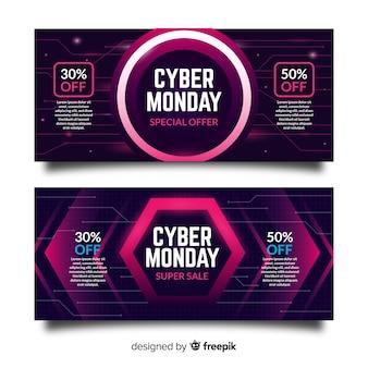 Bandeira de venda segunda-feira cyber definir o estilo de néon