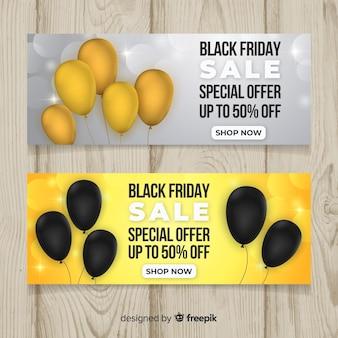 Bandeira de venda sexta-feira negra conjunto com balões
