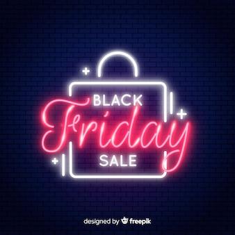 Bandeira de venda sexta-feira negra de néon