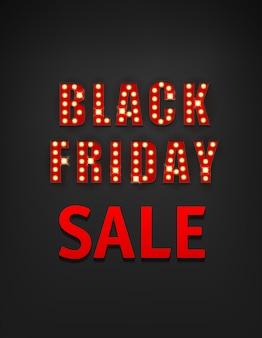 Bandeira de venda sexta-feira negra estilo retro