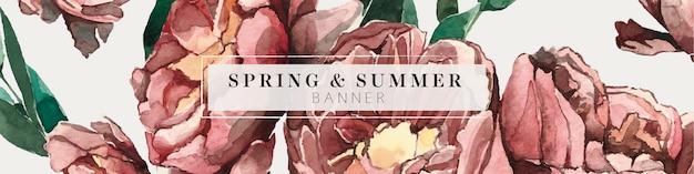 Bandeira de verão folhagem peônia rosa vermelha e verde