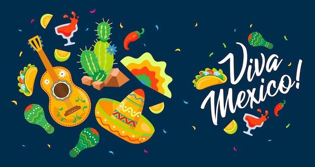 Bandeira de vetor de frase de férias mexicano tradicional viva méxico