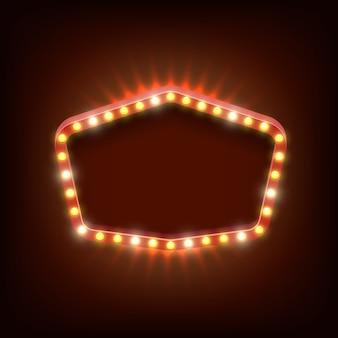 Bandeira de vetor de luz brilhante vintage. banner retro frame, brilhante e realista, show e ilustração brilhante