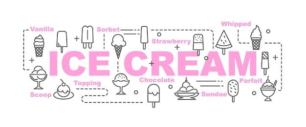 Bandeira de vetor de sorvete