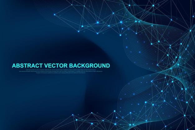 Bandeira de vetor de tecnologia de blockchain de fundo futurista de vetor abstrato