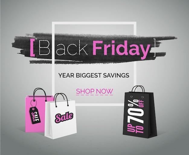 Bandeira de vetor de venda sexta-feira negra. moda rosa sacos de compras brancos com moldura.