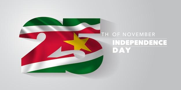 Bandeira de vetor feliz dia da independência do suriname, cartão de felicitações. bandeira ondulada do suriname em design fora do padrão para feriado nacional de 25 de novembro
