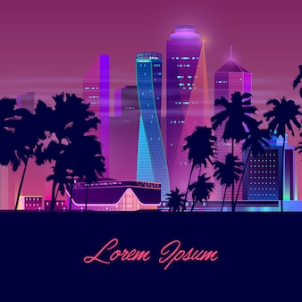 Bandeira de vetor moderno cidade vida noturna dos desenhos animados
