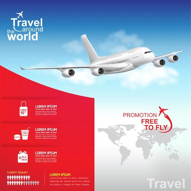 Bandeira de viagem de avião ao redor do mundo
