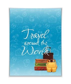 Bandeira de viagens ao redor do mundo com elementos desenhados à mão e vetor de bagagem realista