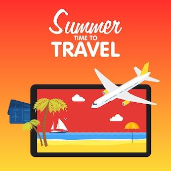 Bandeira de viagens de vetor plano colorido conceito e elementos de ilustrações de design de qualidade