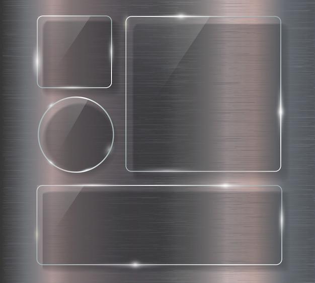 Bandeira de vidro em aço fundo metálico.