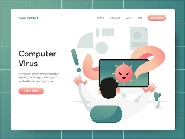 Bandeira de vírus de computador do conceito de página de destino