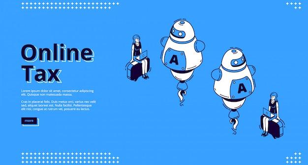 Bandeira de web de aterragem isométrica de imposto on-line, tributação