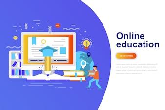 Bandeira de web de conceito moderno plano de educação on-line