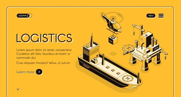 Bandeira de web de empresa de logística marítima global, página de destino com o recipiente de transporte de helicóptero