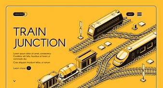 Bandeira de web de empresa de transporte ferroviário ou modelo de página de aterrissagem com diesel de frete