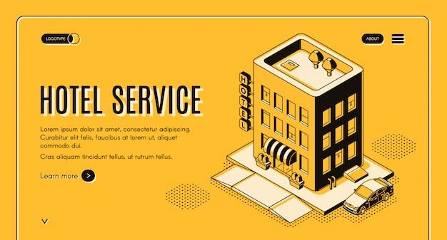 Bandeira de web de projeção isométrica de serviço de hotel com carro de clientes