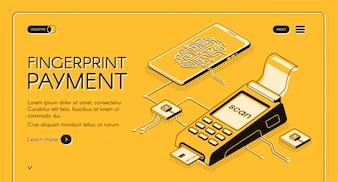 Bandeira de web de serviço de pagamento por impressão digital com chip digital, impressão digital e cartão de crédito