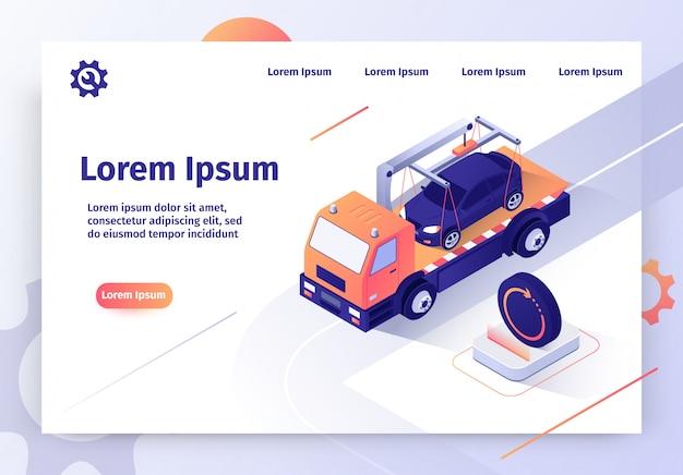 Bandeira de web de vetor de serviço on-line de carro de reboque de carro