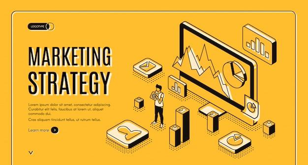 Bandeira de web de vetor isométrica de agência de marketing digital