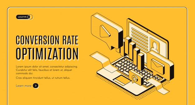 Bandeira de web de vetor isométrica de otimização de taxa de conversão