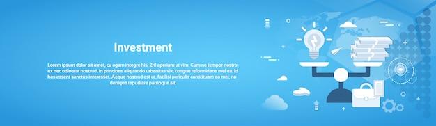 Bandeira de web horizontal de investimento dinheiro de negócios