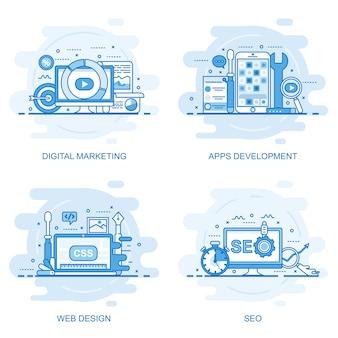 Bandeira de web moderna cor plana linha conceito