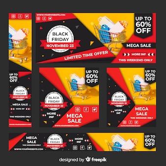 Bandeira de web realista venda sexta-feira negra definida com carrinho de compras