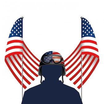 Bandeira declarada unida com soldado e capacete