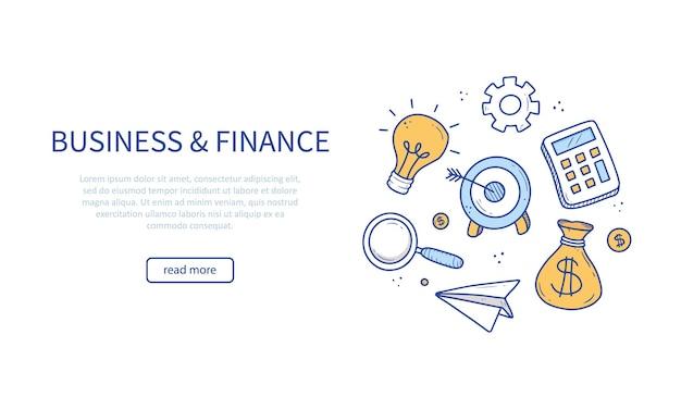Bandeira desenhada à mão de elementos de negócios e finanças