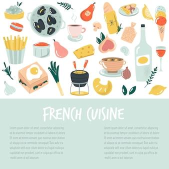 Bandeira desenhada de mão, fundo com comida francesa. ilustração deliciosa do vetor.