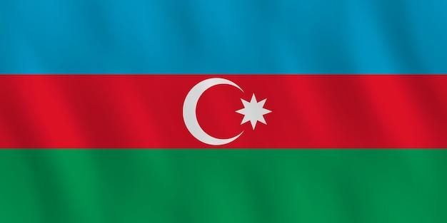 Bandeira do azerbaijão com efeito ondulado, proporção oficial.