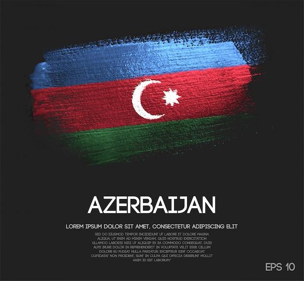 Bandeira do azerbaijão feita de glitter sparkle escova paint vector