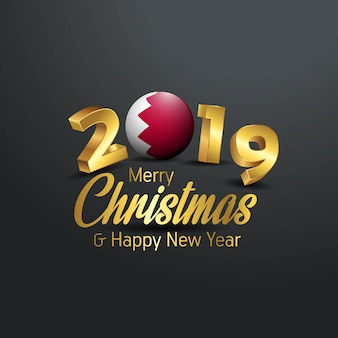 Bandeira do bahrein 2019 merry christmas tipografia