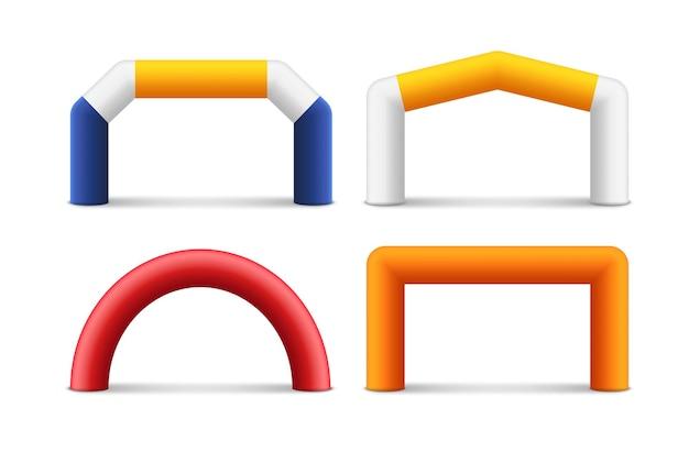 Bandeira do balão do patrocinador do arco inflável. maratona início e fim publicidade entrada evento.