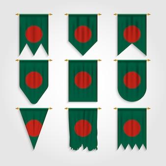 Bandeira do bangladesh em formas diferentes, bandeira do bangladesh em várias formas