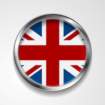 Bandeira do botão de metal do reino unido da grã-bretanha. desenho vetorial