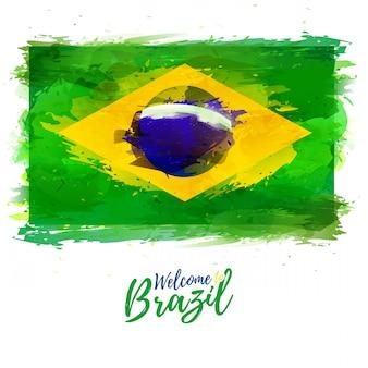 Bandeira do brasil com a decoração do símbolo nacional e cor. desenho de aquarela de estilo.