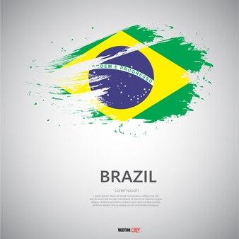 Bandeira do brasil com pincelada.