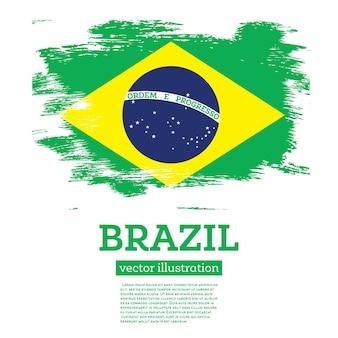 Bandeira do brasil com pinceladas. ilustração vetorial.