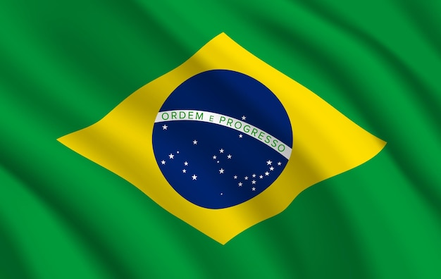 Bandeira do brasil, símbolo oficial brasileiro de cores verdes e amarelas com globo azul, estrelas e linha. bandeira nacional do país realista da república federativa brasileira acenando ondas de tecido textura 3d