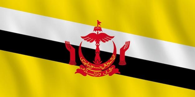 Bandeira do brunei com efeito ondulante, proporção oficial.