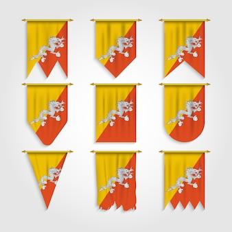 Bandeira do butão em formas diferentes, bandeira do butão em várias formas