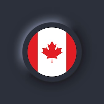 Bandeira do canadá. bandeira nacional do canadá. símbolo canadense. ilustração vetorial. eps10. ícones simples com bandeiras. interface de usuário escura ux neumorphic ui. neumorfismo
